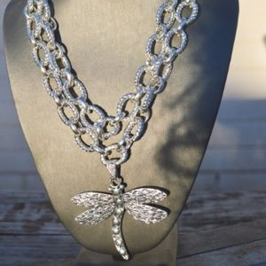 Silver DragonFly Huge Pendant Statement Necklace